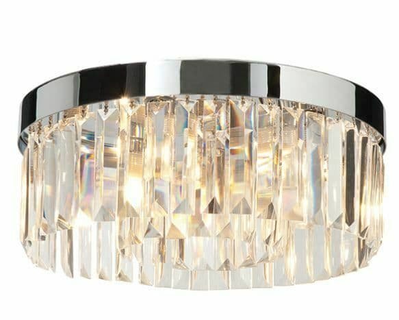 Crystal 5 light flush IP44 18W Chrome plate & clear crystal dimmable